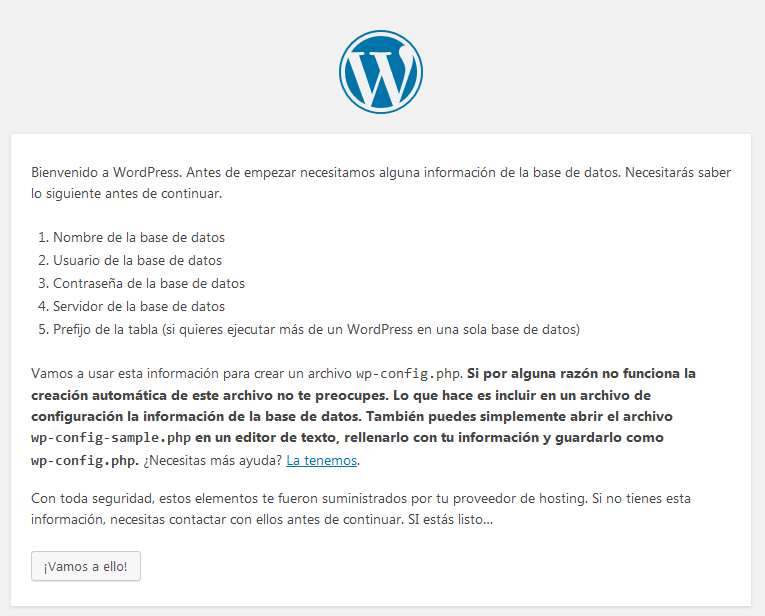 wordpress instalación