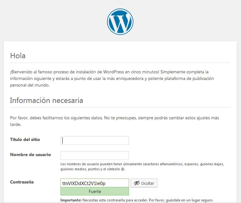 wordpress nombre del sitio y usuario