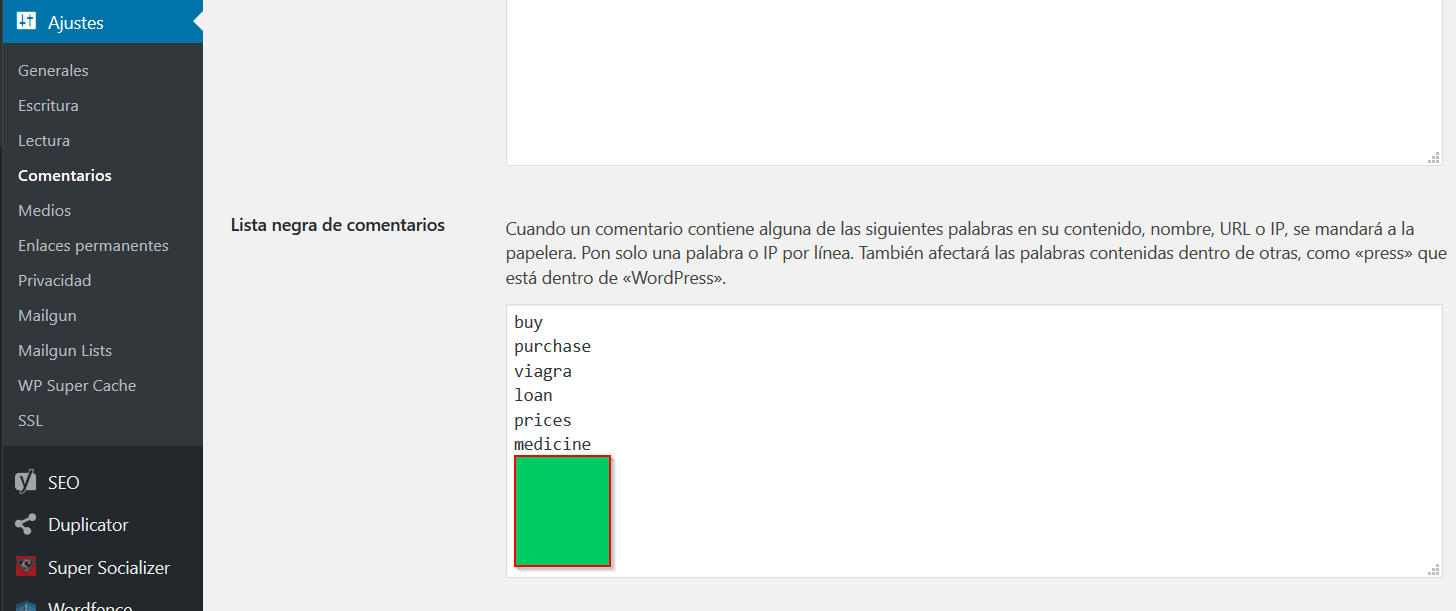 lista negra wordpress